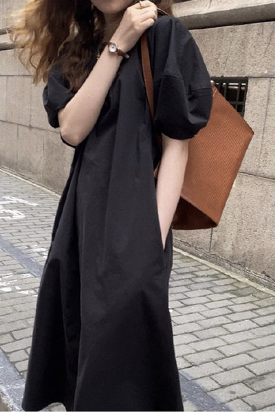 COTTON PUFF SLEEVE DRESS MARIE - MOMO NEW YORK