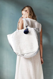 CROCHET ACE BAG - Silver/White MOMO NEW YORK