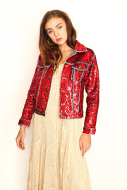 DEMI HAND SEQUIN EMBROIDERED DENIM JACKET - MOMO NEW YORK