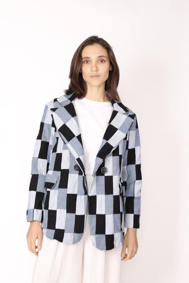 DENIM PATCHWORK BLAZER JACKET CHARLY - MOMO NEW YORK