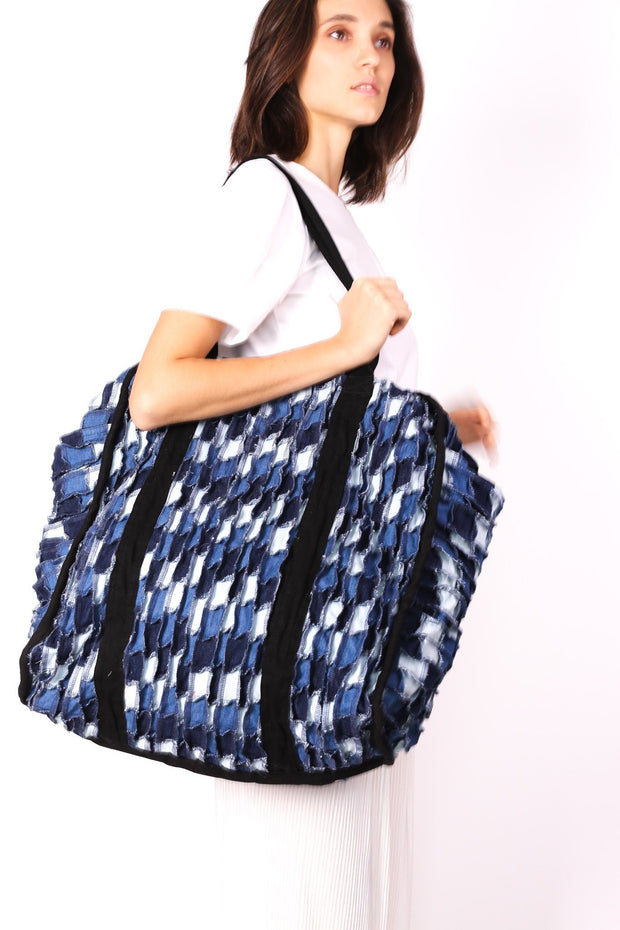 DENIM PATCHWORK XXL BAG BLEECKER - MOMO NEW YORK