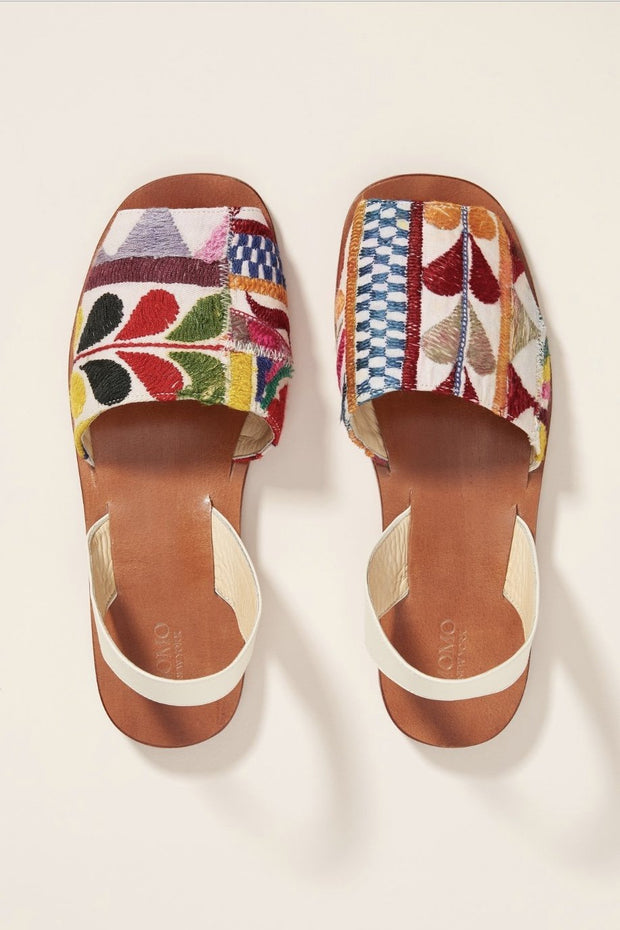 DESSA EMBROIDERED SLING BACK SANDALS X ANTHROPOLOGIE - MOMO NEW YORK