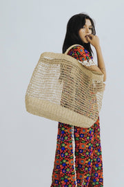 EMBROIDERED BASKET SHOPPER SHOPPING TOTE BAG MOMO NEW YORK