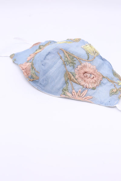 EMBROIDERED COTTON/ SILK FACE MASK MAYU MOMO NEW YORK