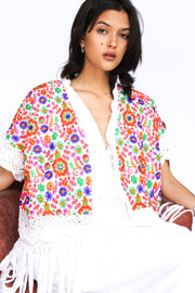 EMBROIDERED CROCHET FRINGE KIMONO ZANA MOMO NEW YORK