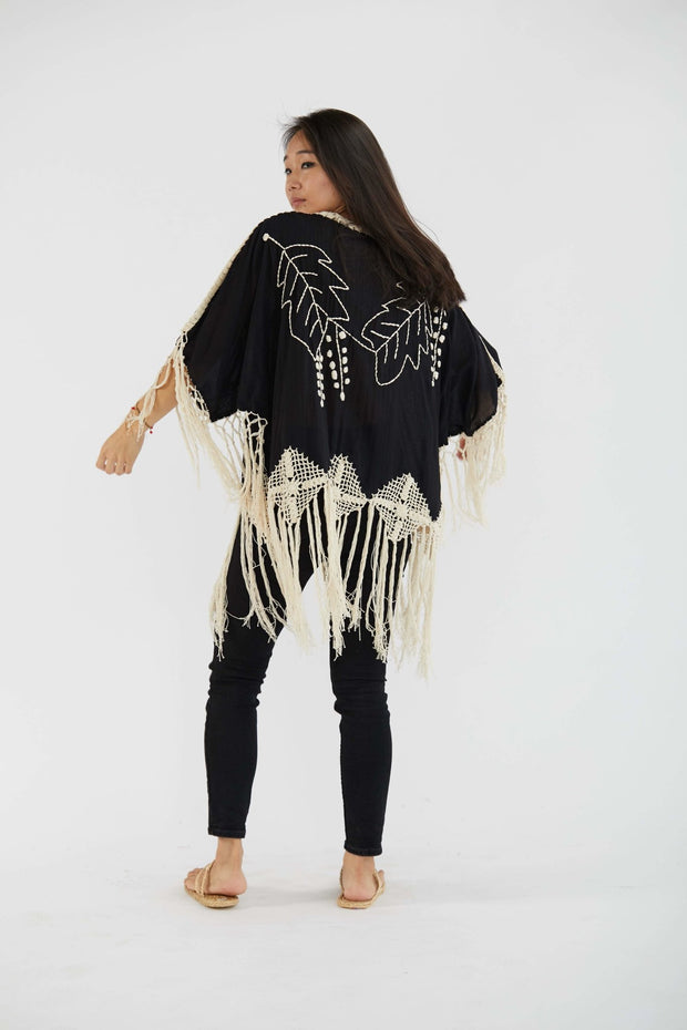 Embroidered Fringe Kaftan Top Talin MOMONEWYORK