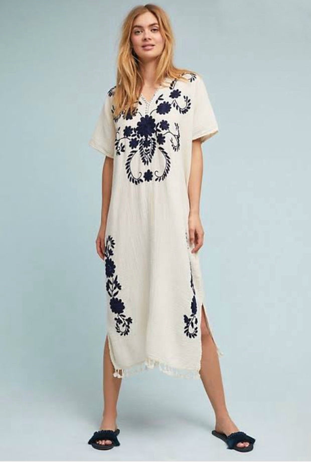 EMBROIDERED KAFTAN DRESSS JUDITH X ANTHROPOLOGIE - MOMO NEW YORK