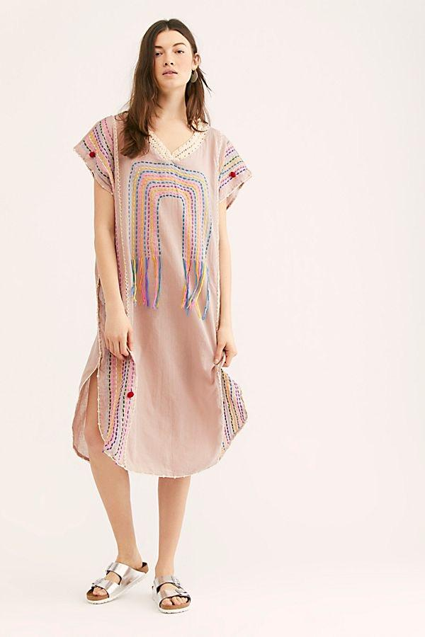 EMBROIDERED KAFTAN NUTSU NUDE / PINK MOMO NEW YORK