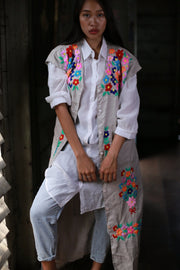 EMBROIDERED LINEN KIMONO ROBE JACKET MOMO NEW YORK