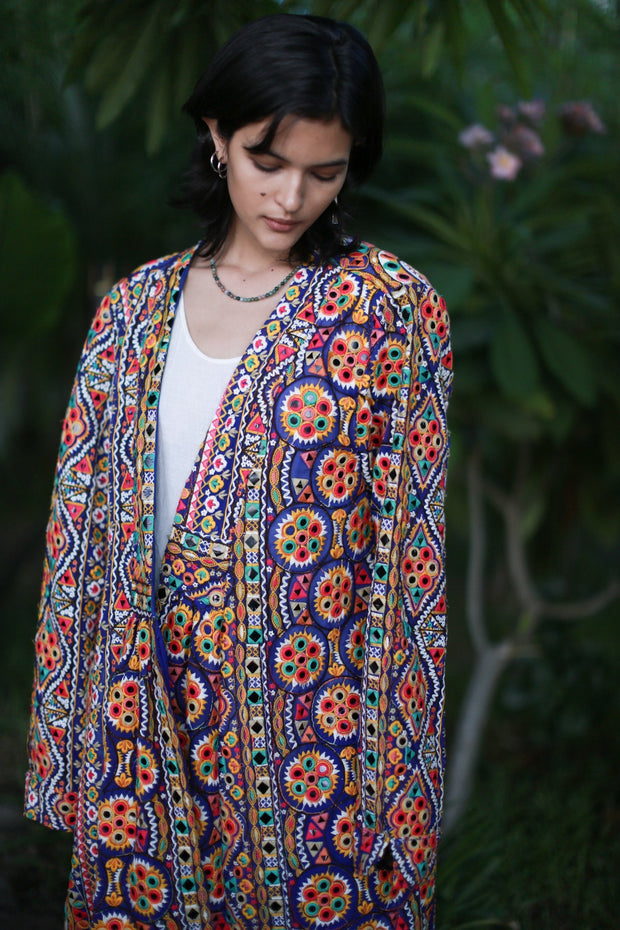 EMBROIDERED LONG KIMONO COAT CHIFFON SILK ABBEY - MOMO NEW YORK
