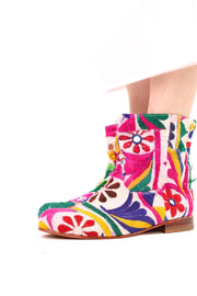 EMBROIDERED PATCHWORK ANKLE BOOTS ROMY - MOMO NEW YORK