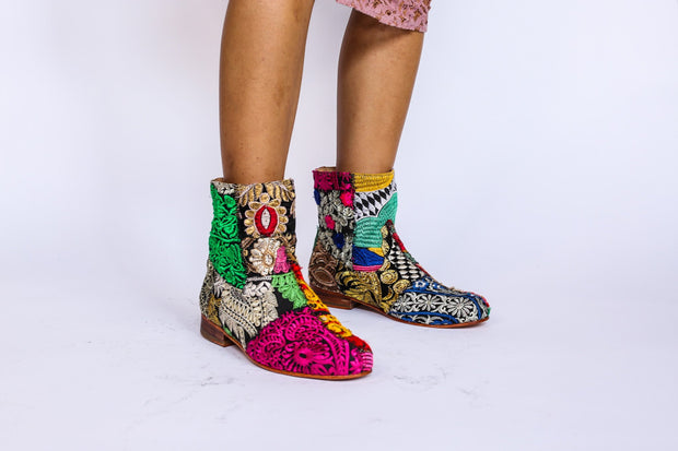 Embroidered Patchwork Boots Romy MOMONEWYORK