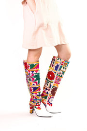 EMBROIDERED PATCHWORK HIGH BOOTS SENREVE - MOMO NEW YORK