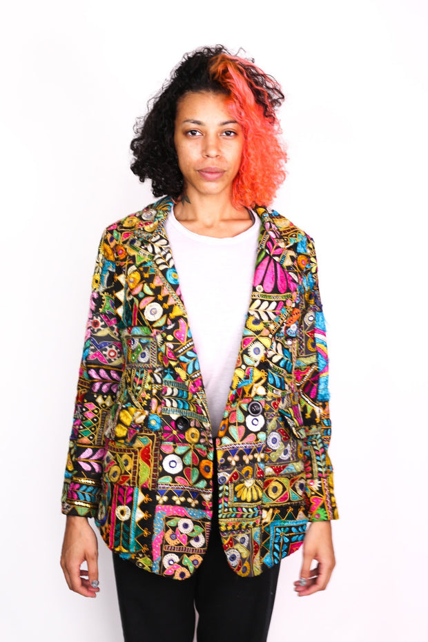 EMBROIDERED PATCHWORK JACKET FRIDA - MOMO NEW YORK