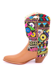 EMBROIDERED PATCHWORK LEATHER WESTERN BOOTS MAYLINDA - MOMO NEW YORK