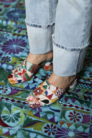 EMBROIDERED PATCHWORK SANDAL MULES LULU MOMO NEW YORK