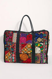 Embroidered Patchwork Weekender Bag Alaia MOMONEWYORK