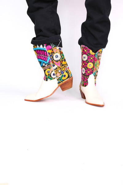 EMBROIDERED PATCHWORK WESTERN BOOTS ANDROMEDA - MOMO NEW YORK