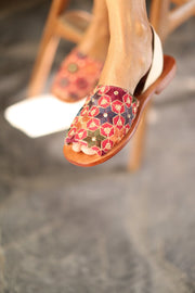 EMBROIDERED SEQUIN SILK SANDALS FRANCES - MOMO NEW YORK