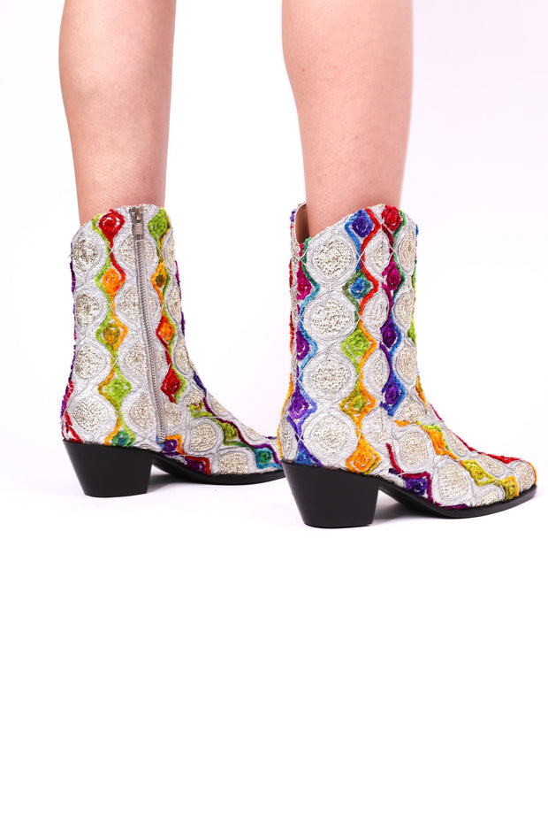 EMBROIDERED SILK BOOTS TIFFANY (SILVER) - MOMO NEW YORK