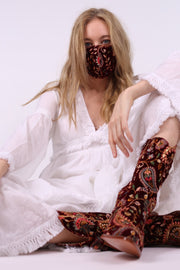 EMBROIDERED VELVET FACE MASK LOU (WINE RED) - MOMO NEW YORK