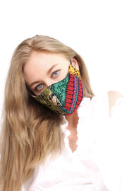 FACE MASK GIVA EMBROIDERED PATCHWORK BLACK MOMO NEW YORK