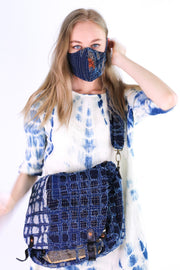 FACE MASK INDIGO PATCHWORK EMBROIDERED MOMO NEW YORK