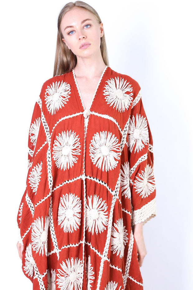 FLORA CROCHET KIMONO DUSTER (BROWN) - MOMO NEW YORK