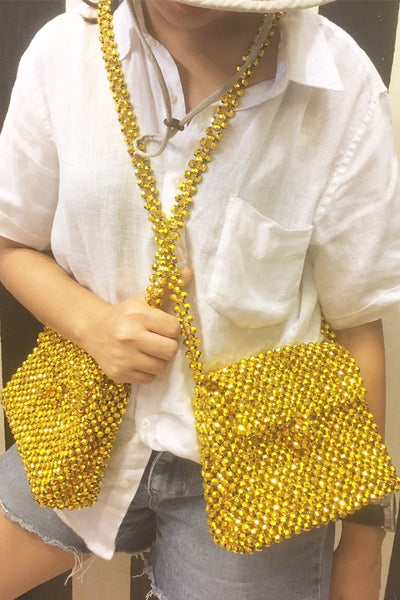 Gold Cross Shoulder Bead Bag Ramya MOMONEWYORK