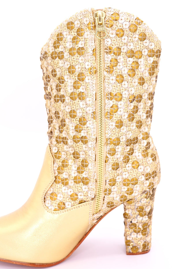 GOLD SEQUIN HEEL BOOTS ADRIENNE - MOMO NEW YORK
