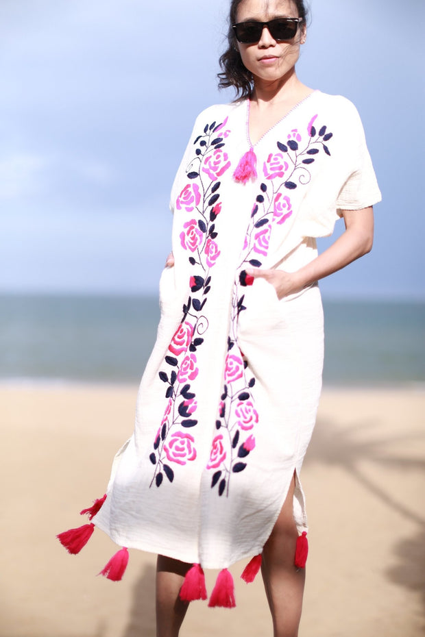 HAND EMBROIDERED KAFTAN DRESS YUKI MOMO NEW YORK