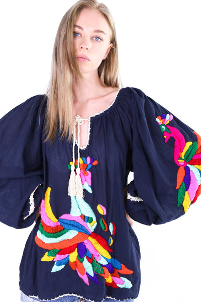 HAND EMBROIDERED LONG SLEEVE TOP LEILA - MOMO NEW YORK