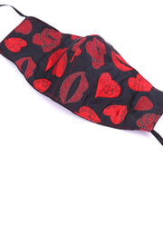 HEART & KISS FACE MASK MARILYN (BLACK/RED) - MOMO NEW YORK