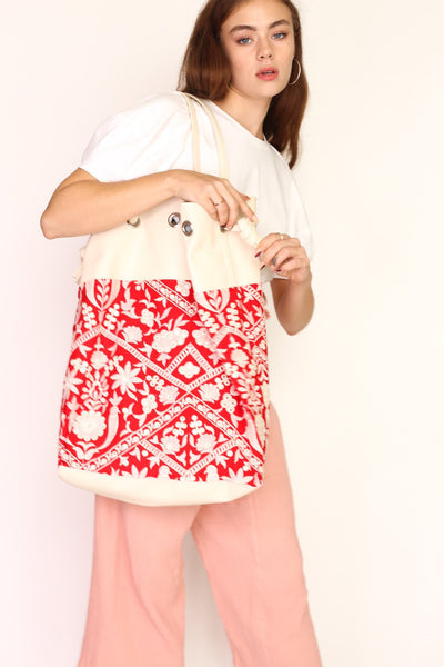 HOBO BOHO LEATHER RED EMBROIDERED BAG TOEY - MOMO NEW YORK