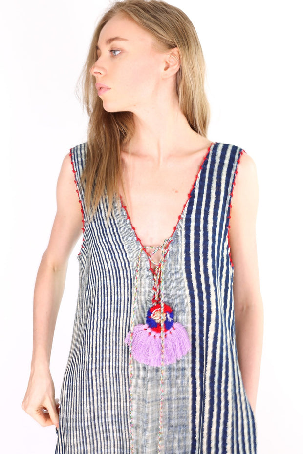 INDIGO TRIBAL FABRIC DRESS HELENA MOMO NEW YORK