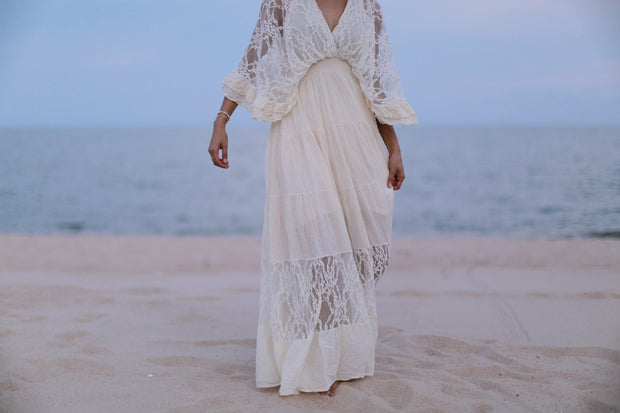 Kaftan Cotton Lace Dress Luna MOMONEWYORK