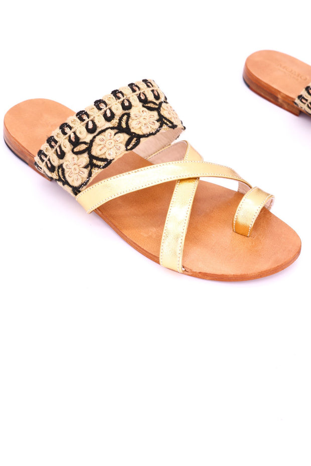 LEATHER STRING SANDALS MABELLA - MOMO NEW YORK