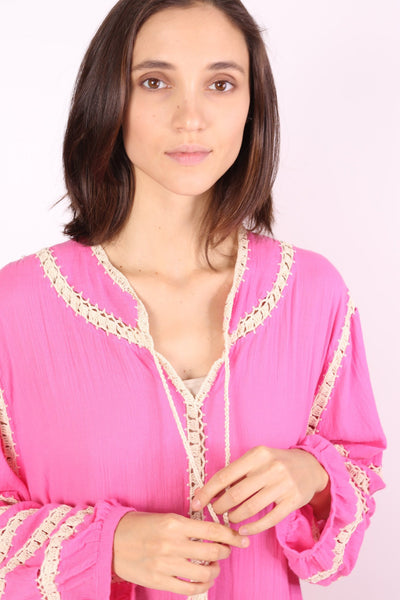 LONG SLEEVE KAFTAN TOVE HAND CROCET EMBROIDERED - MOMO NEW YORK