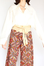 NEEDLEWORK FISHERMAN CROP WRAP PANTS - MOMO NEW YORK