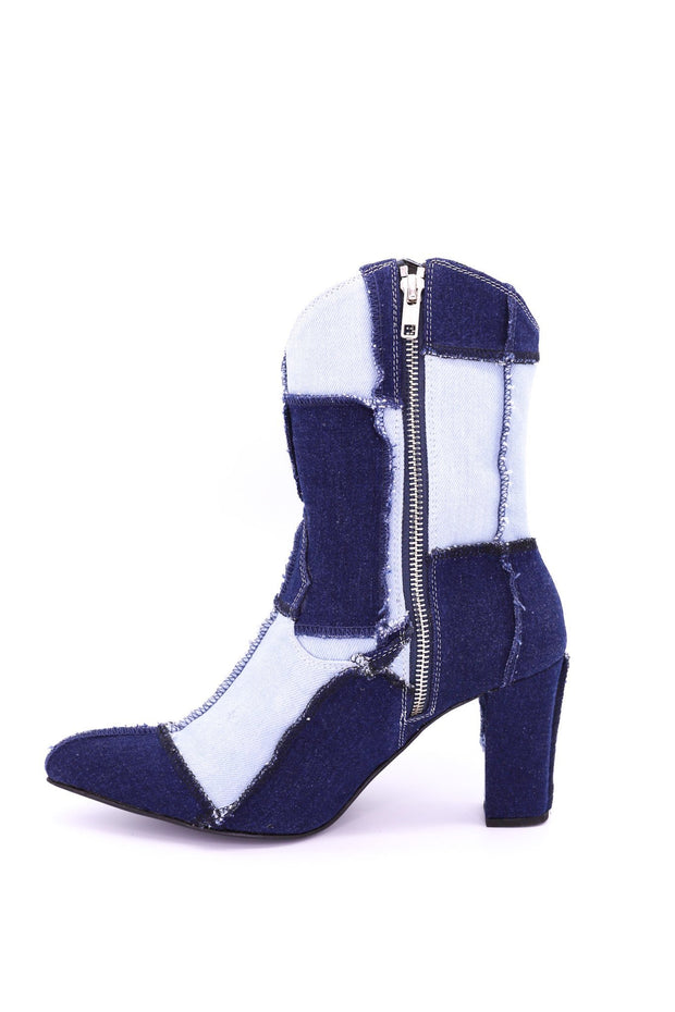 PATCHWORK DENIM BOOTS LENNI - MOMO NEW YORK