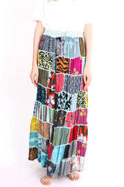 PATCHWORK EMBROIDERED STITCH SKIRT BETTINA MOMO NEW YORK