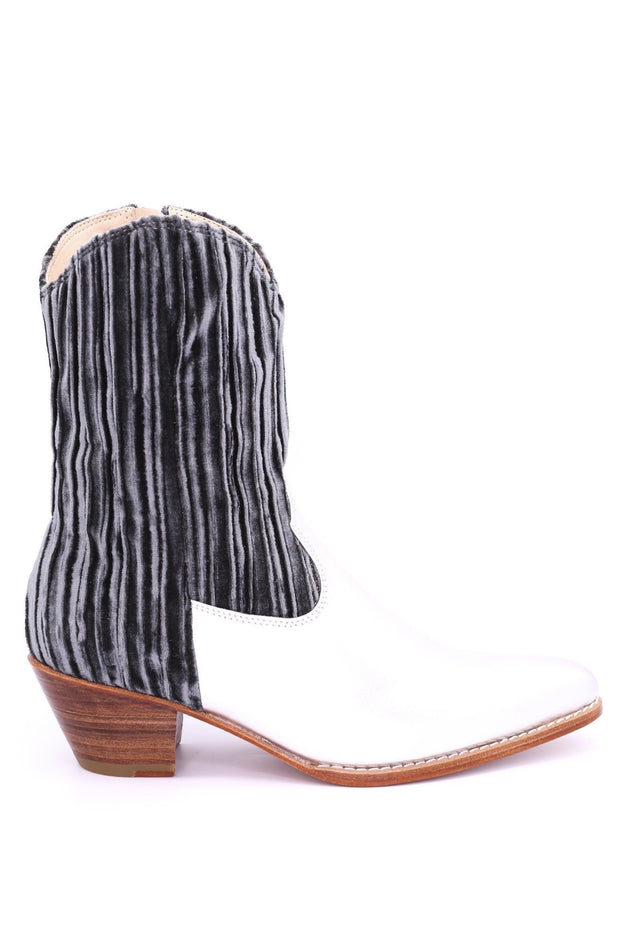 PLEATED VELVET SILVER BOOTS SHELLEY - MOMO NEW YORK