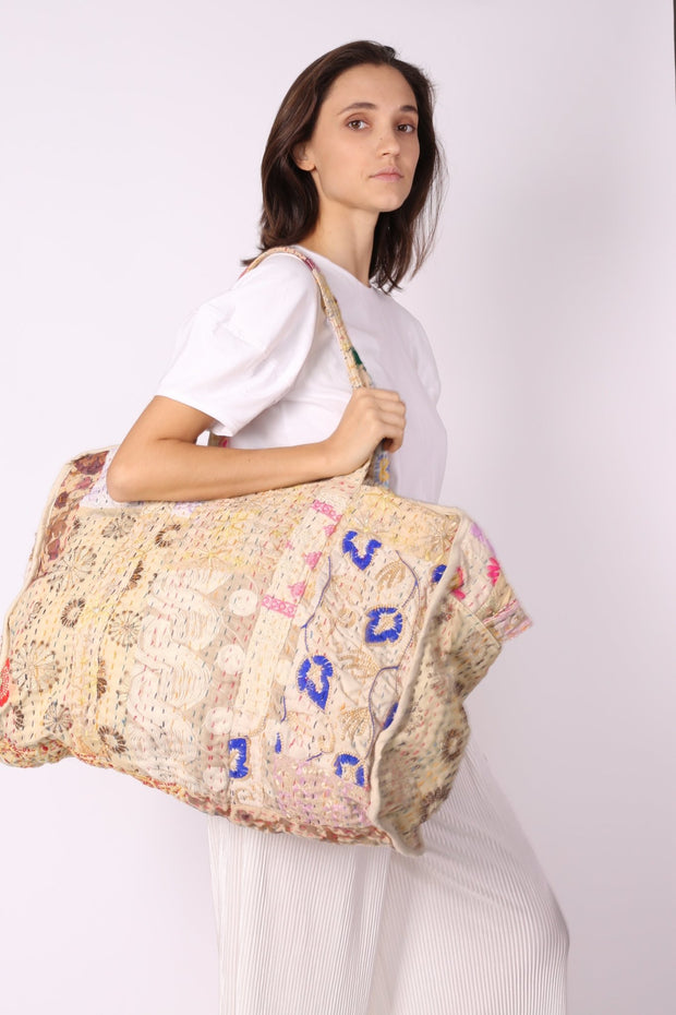 QUILTED EMBROIDERED COTTON WEEKENDER MANILA - MOMO NEW YORK