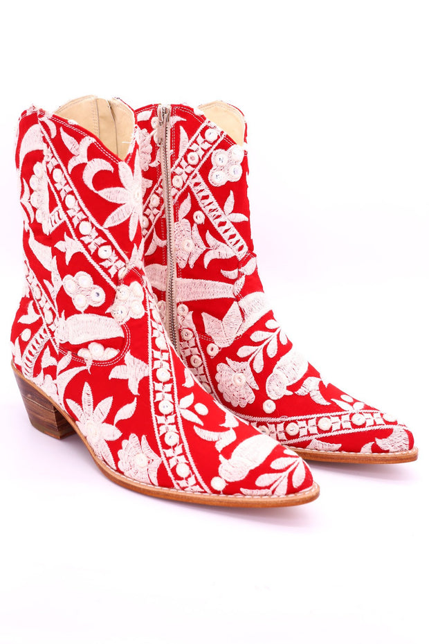 RED EMBROIDERED ANKLE BOOTS MARA - MOMO NEW YORK