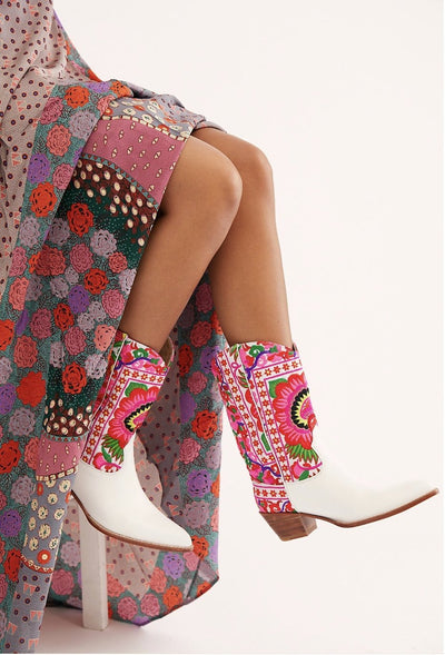 SELINA EMBROIDERED WESTERN COWBOY BOOTS X FREE PEOPLE - MOMO NEW YORK