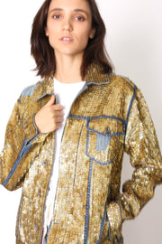 SEQUIN EMBROIDERED DENIM JACKET DEMI X FREE PEOPLE - MOMO NEW YORK