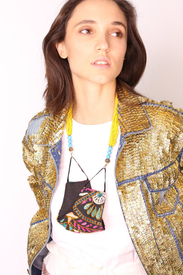 SEQUIN EMBROIDERED DENIM JACKET (GOLD) - MOMO NEW YORK