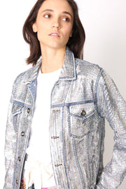 SEQUIN HAND EMBROIDERED DENIM JACKET DEMI (SILVER) - MOMO NEW YORK
