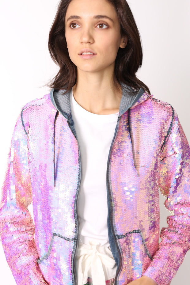 SEQUIN HOODIE DENIM JACKET - MOMO NEW YORK
