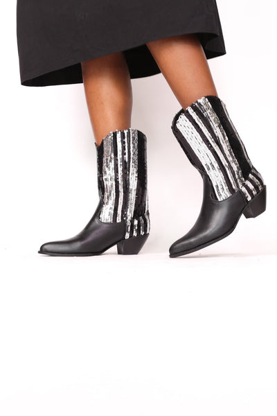 SEQUIN LEATHER BOOTS SUNITE - MOMO NEW YORK